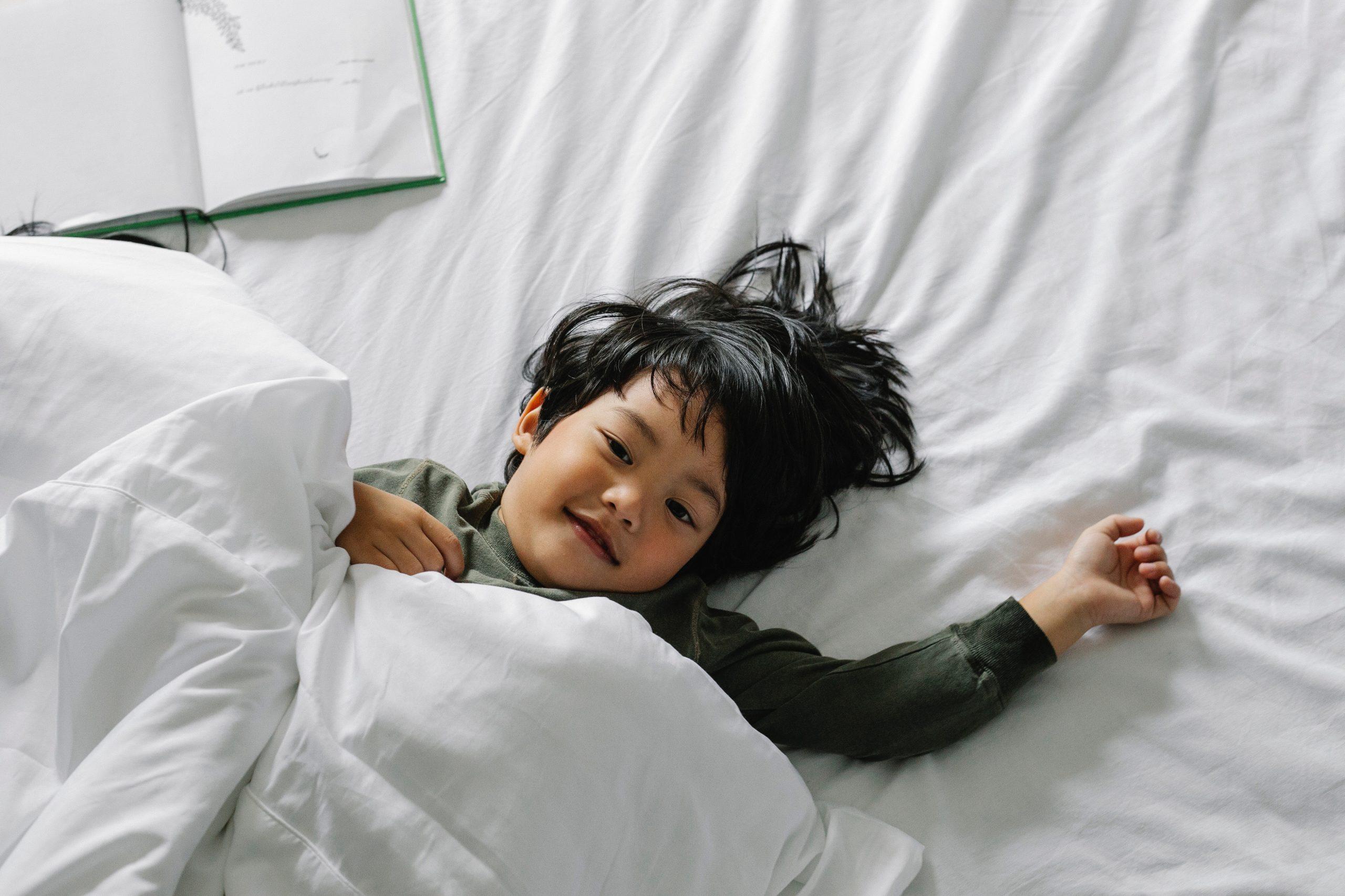 little boy in bed, bedtime